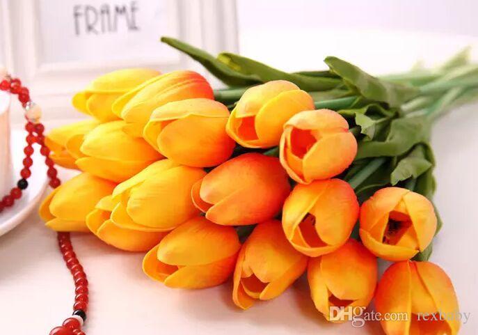 زنبق اللاتكس الاصطناعي بو زهرة باقة ريال اللمس الزهور للمنزل الديكور زفاف الزهور الزخرفية 12 خيار الألوان