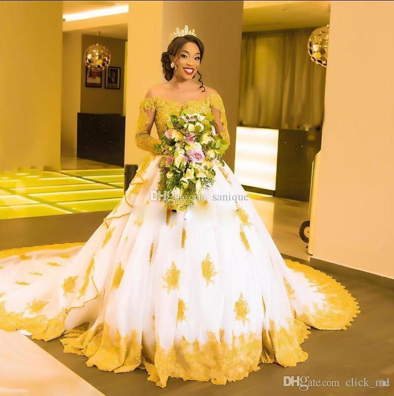 African Plus Size Wedding Dresses Off The Shoulder Gold Appliques Lace Ball  Gown Wedding Dress Long Sleeves Long Bridal Gowns Vestidos