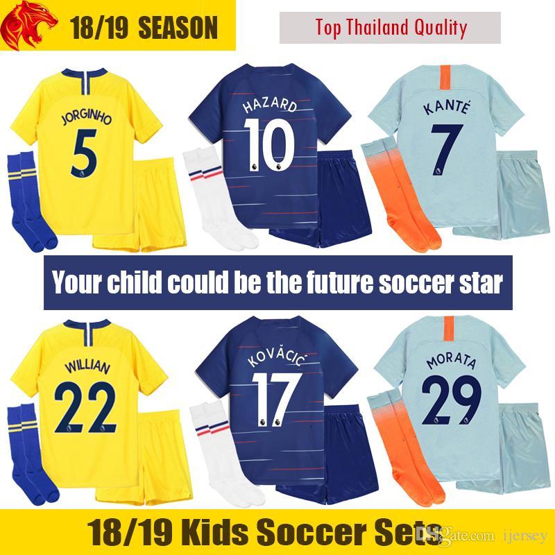 Compre 18 19 Chelsea Niños Camiseta De Fútbol 2018 2019 MARCOS ALONSO  Chelsea HAZARD Niños Kit GIROUD Chelsea MORATA Niños Uniforme De Fútbol  PEDRO ... 0fe102dbeeb50