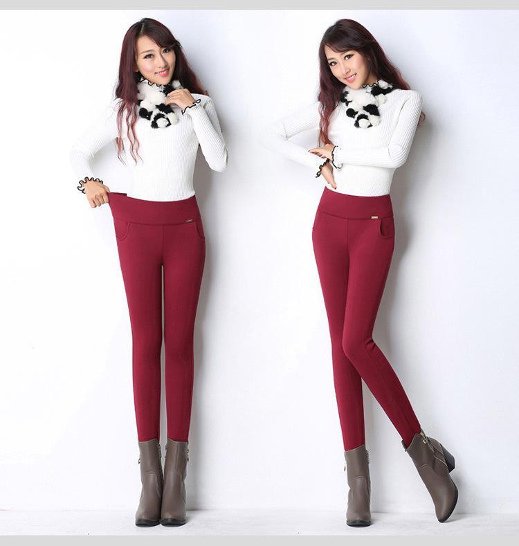 Большой размер зима Россия женщины тощий тонкий толстый флис бархат леггинсы теплые брюки высокая талия эластичный панелями Леди красный повседневная длинные брюки