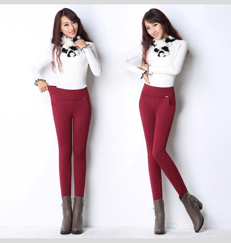 BÜYÜK boy Kış Rusya Kadınlar Skinny İnce Kalın Fleece Kadife Tayt Sıcak Pantolon Yüksek Bel Elastik Kasetli Lady Casual uzun pantolon kırmızı