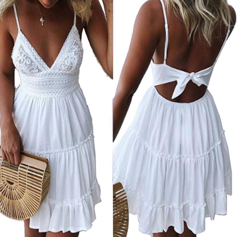 d20e6c1e7197f Cut Out Summer Mini Dress Boho V-neck Sleeveless Girls Lace Sundress  Bowknot Backless Women Beach Sexy Spaghetti Strap Dresses