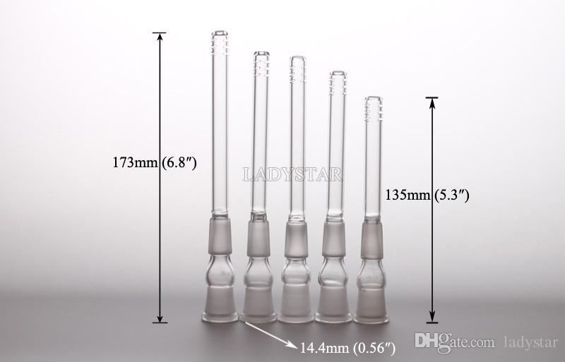 Nargile Adaptörü Boru Aksesuarları Cam Downstem Bongs Su Boruları Mix Boyutu 14.4mm 18.8mm 5 adet / grup L64A