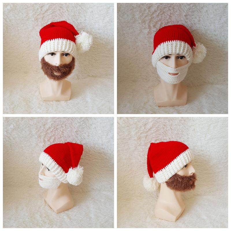 28c202da347 Christmas Beard Hats Knitted Beard Mask Cap Winter Santa Clause Cosplay Hat  Warm Ear Protective Skiing Headgear Scarves Hat Sets GGA1045 UK 2019 From  ...