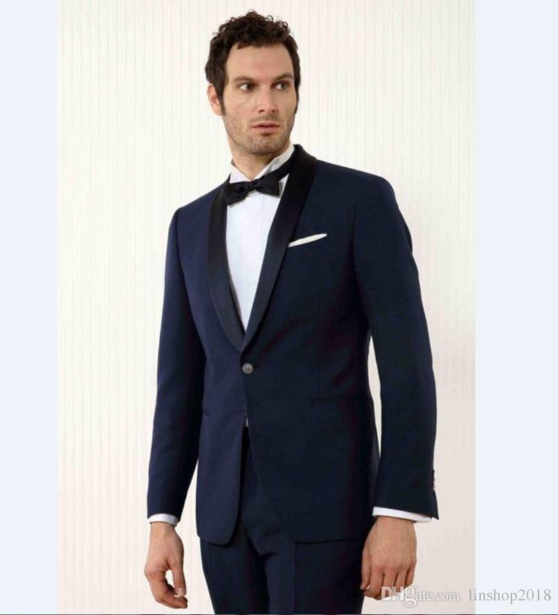 Custom Made Groomsmen Shawl Black Lapel Groom Tuxedos Navy Blue Mens Suits Wedding Best Man Jacket+Pants