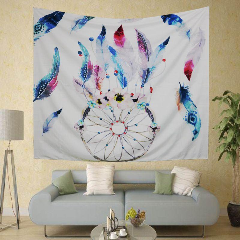 Büyük Baykuş Baskılı Polyester Goblen 210 * 150 cm Duvar Asılı Hippi Renkli Ev Dekor Sanat Bohemian Plaj Havlusu Yoga Şal Mat