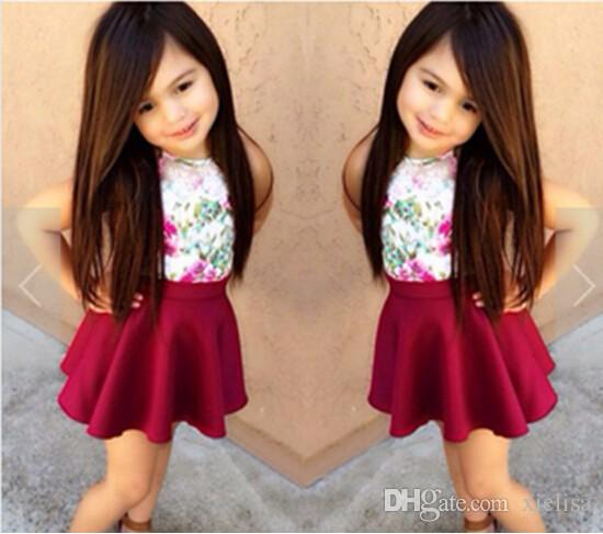 print Floral Designs Dresses For Girls Children girls clothing sets T-shirt +Flower Printed Skirt Kids baby girls Clothes