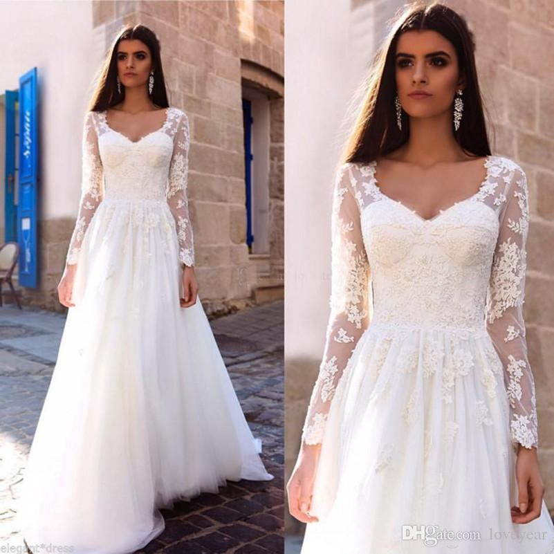 e1ecce1d49 Discount Vintage A Line Wedding Dress V Neck Long Sleeve Bridal Gowns Vestido  De Novia Lace Applique Wedding Gowns Custom Cheap Wedding Dress Cheap  Wedding ...