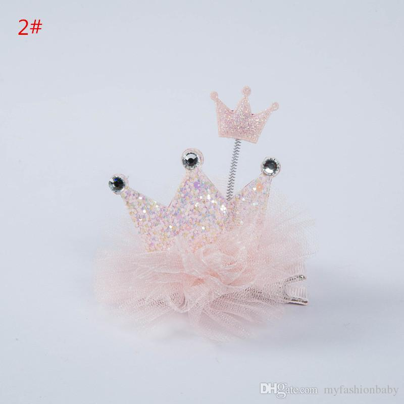 2018 New Spring Baby Sequins Princess Crown Hair Clips Cute Kids Hair New Arrival Pink Color Hairpins Korean materials
