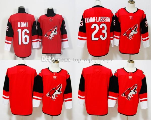 3b8391a9b 2018 Hockey 100% Arizona Coyotes Jerseys 23 Oliver Ekman Larsson 16 Max  Domi Blank Jersey Red White Home Free Jerseys UK 2019 From Top top jerseys
