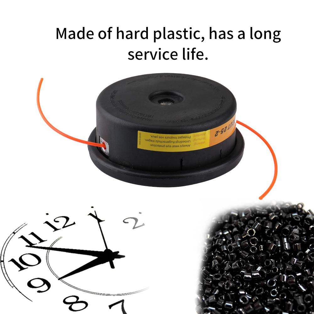 Frosted Plastic Threaded Interface Grass Trimmer Top Brush Cutter Tops Strimmer Lawn Mower Accessory with 1 Trimmer Rope