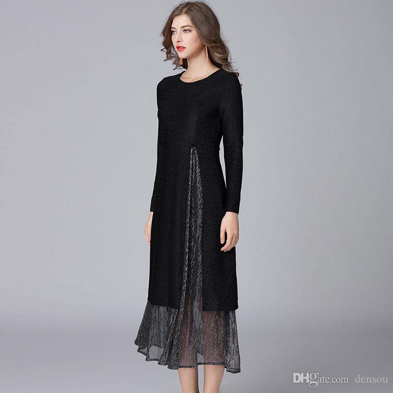 2018 Two Pieces Women Spring Autumn Fashion Dresses Plus Size O Neck