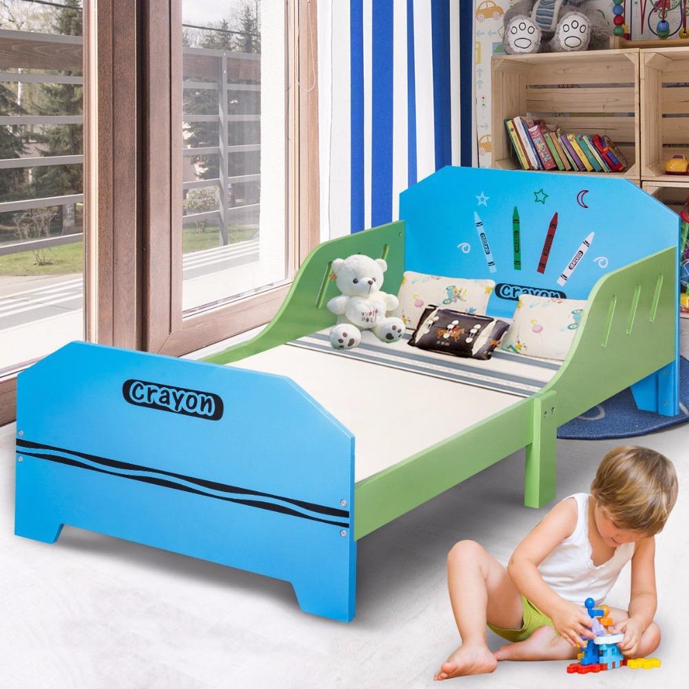 Giantex Crayon Temática Madera Niños Cama Con Rieles De La Cama Para Niños Pequeños Y Niños Muebles Coloridos Dormitorio Bebé Camas De Madera