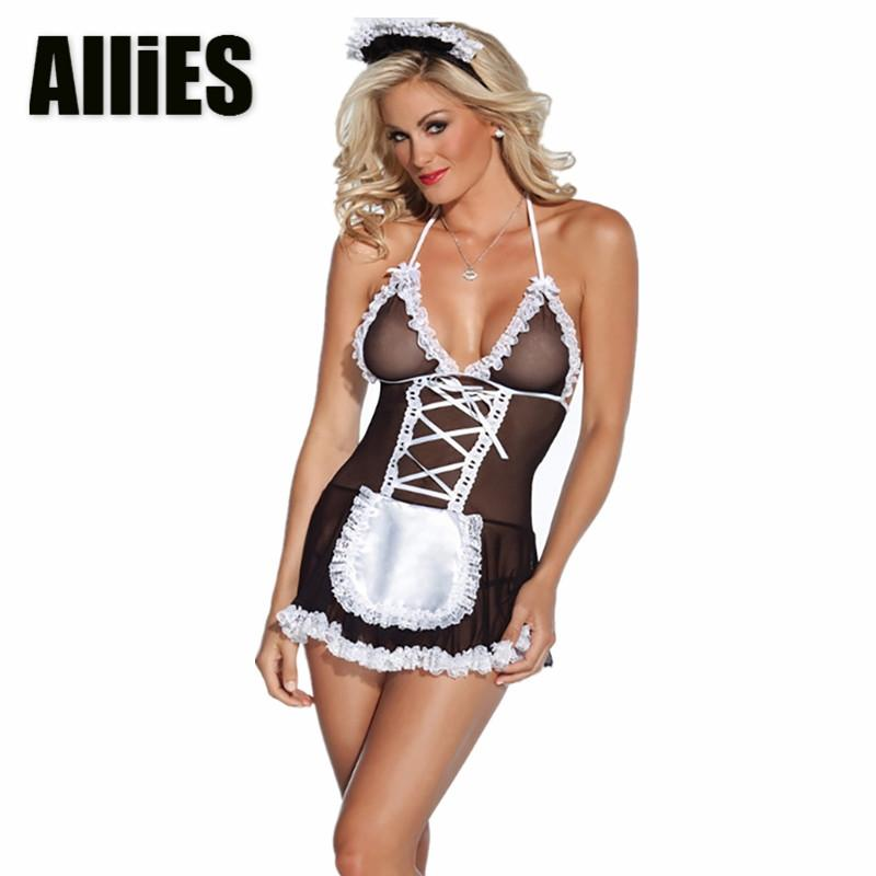 Women Sexy Lace Sleepwear Ladies Housemaid Lingerie V Neck G String Night  Dress Babydoll Transparent Nightwear Clothing UK 2019 From Xiayuhe d33de8061