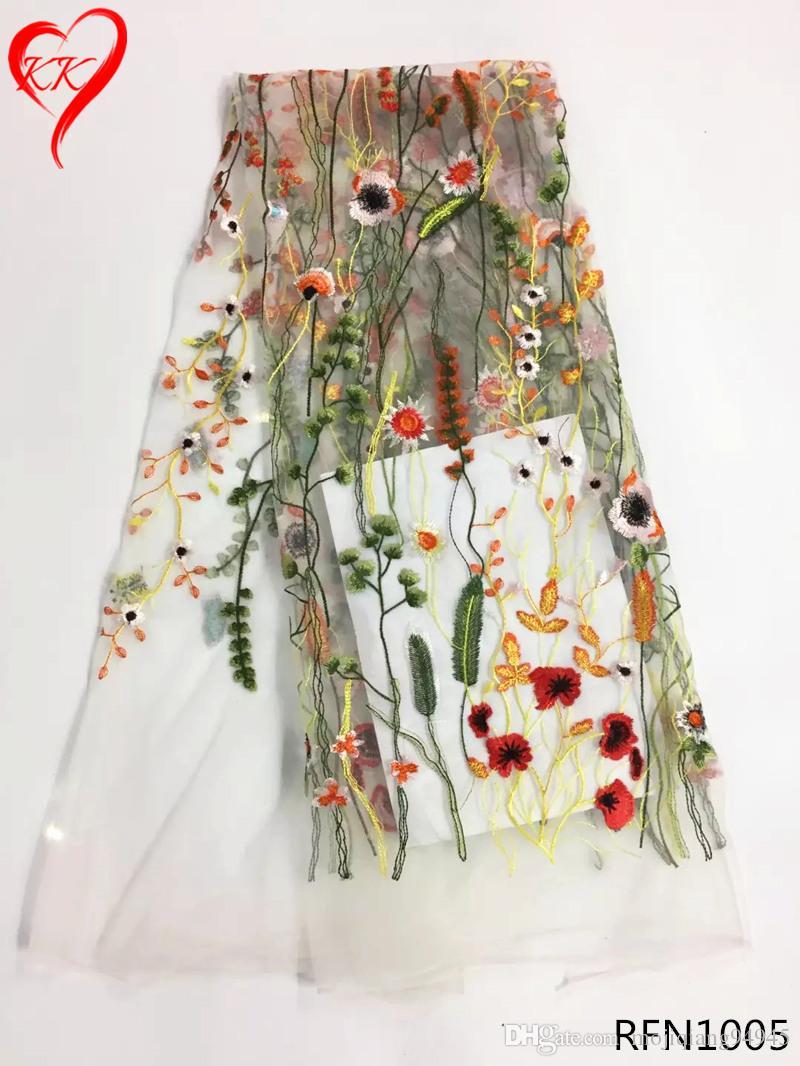 Afrikanische Spitze Stoff 2018 Blumen besticktem Tüll Stoff weiß Französisch Tüll Nigerian Stoffe für Hochzeitskleider RFN10