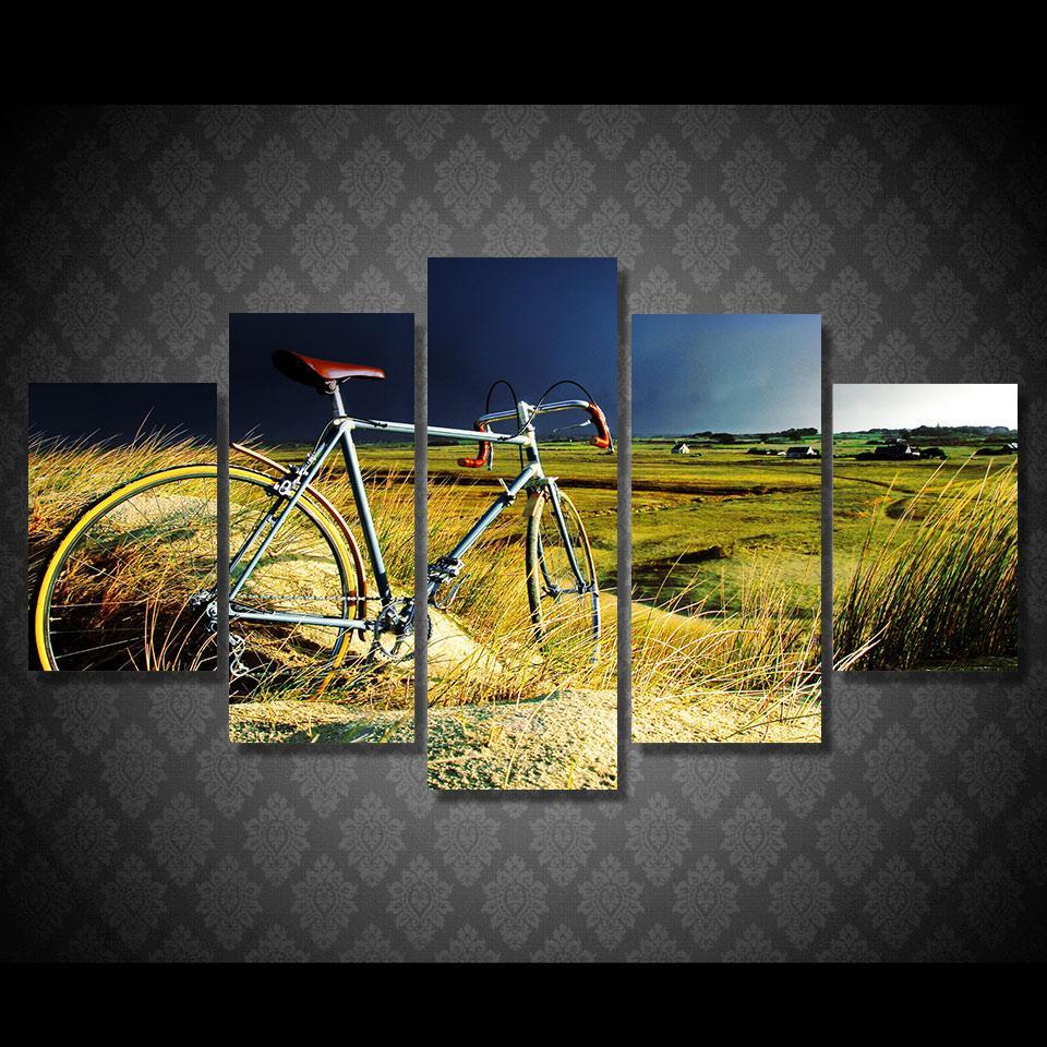 Fırtına Alan Kırsalında Vintage Bisiklet Boyama Hd Baskılı Boyama Tuval Baskı Odası Dekor Baskı Posteri Resim Tuval