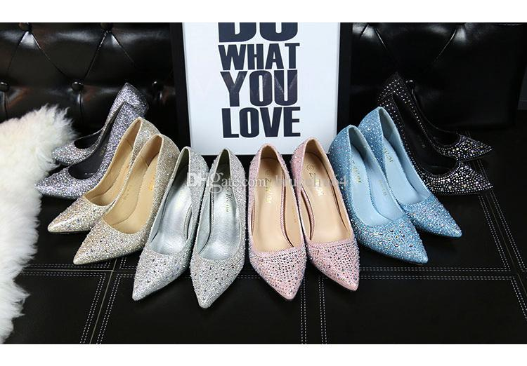 Bridal Shoes Crystal Sequins Pointed High-heeled Party Shoes Sexy Dance High Heels Wedding Shoes Pink Black Gold Silver Blue Heel 11cm pumps