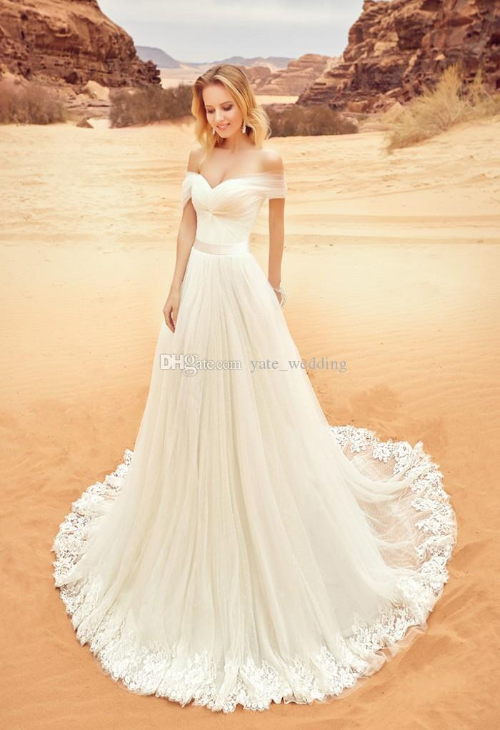 Off The Shoulder Aline Wedding Dresses Pleated Tulle Ribbon Sash Appliques Corset Backless Beach Wedding Dresses 2018 Bridal Dresses