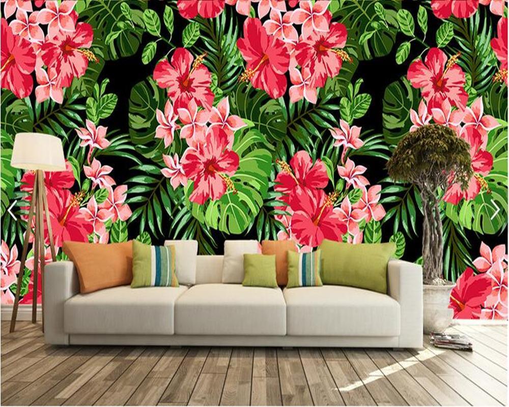 Custom 3d Wallpaper Mural Flowers Pink Floral Murals For Living