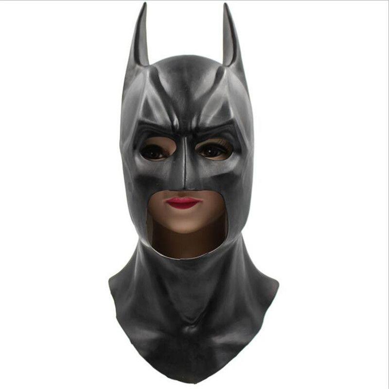 Satın Al Tam Yüz Lateks Batman Maskesi Kostüm Süper Kahraman Kara