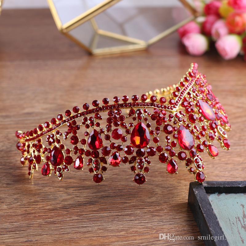 6,5 cm Hohe Barocke Vintage Braut Hochzeit Prom Red Strass Kristall Crown Tiaras Stirnbänder Schmuck Kopfschmuck Haarschmuck Handmade