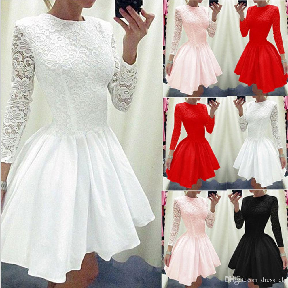 061095b526 2019 Womens Lace Panelled Patchwork Party Cocktail Short Mini Dress  Bridesmaids Long Sleeve Skater Dresses Ladies Ball Gown Swing Pleated Dress  From ...