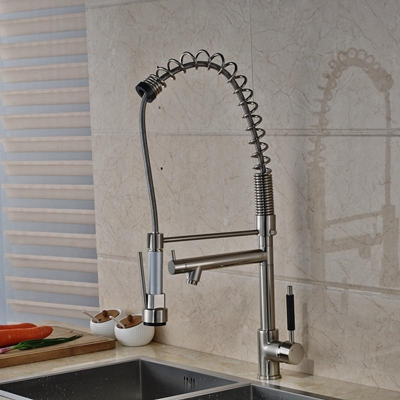 Modern Nickel Brushed Tall Kitchen Faucet Dual Spouts Vessel - Tall kitchen faucets