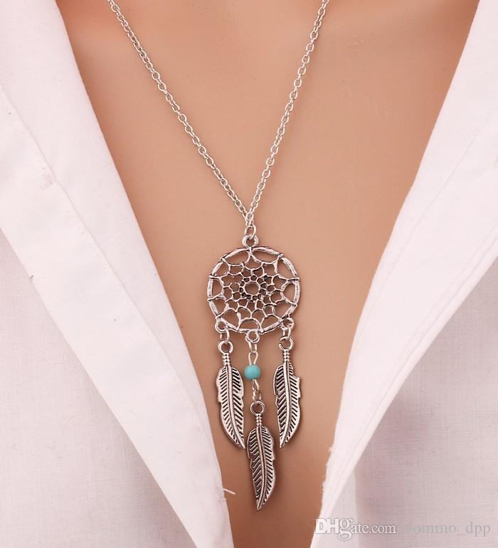 حار الأزياء حلم الماسك المختنق القلائد silverGold أجنحة شرابة ريشة ليف الفيروز قلادة قلادة للنساء الأزياء والمجوهرات