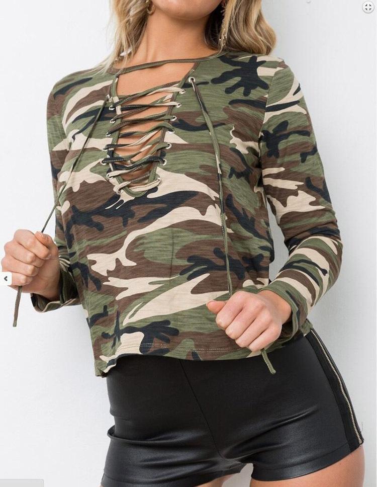 5ea314282 Compre BabYoung 2018 Otoño Mujeres Camisetas Short Style Tops Camiseta  Camuflaje Camiseta Femme Camisetas De Manga Larga Mujer A  26.24 Del  Redbud06 ...