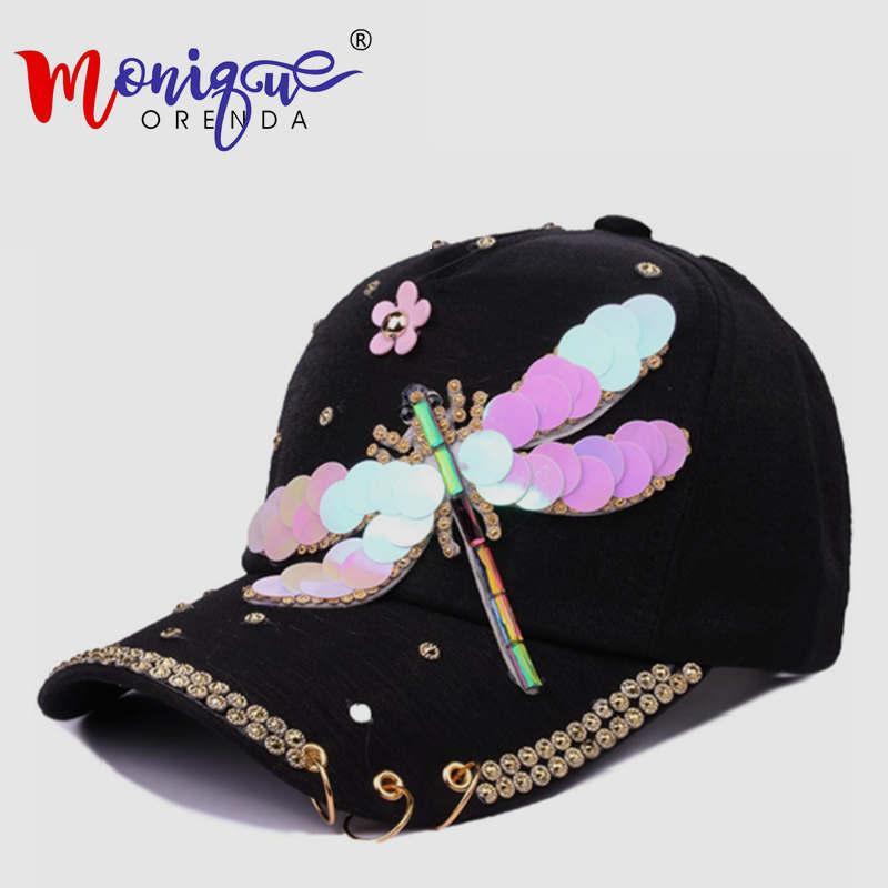 Compre Libélulas Mariposas Lentejuelas Aro Ms Sol Se Impide Tomar El Sol En  Una Gorra De Béisbol Sombrero De Mujer De Moda Sombrero Hip Hop Casquette A  ... b6714e9a9d6