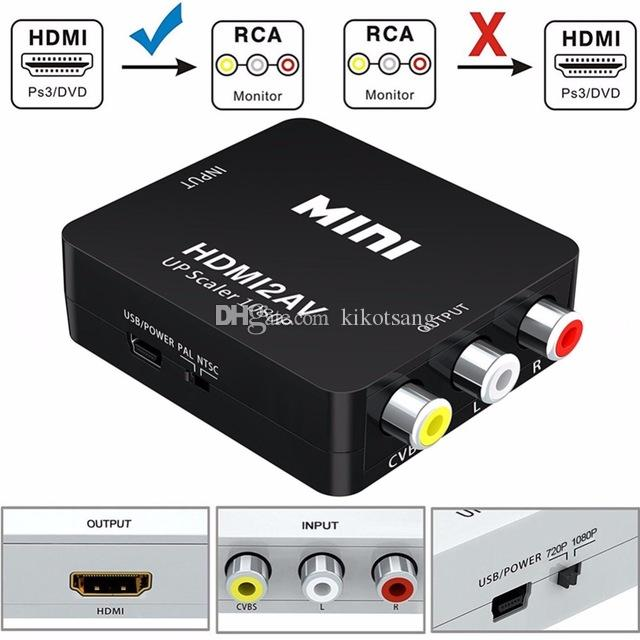 Mini HDMI a AV / RCA Convertidor Compuesto HDMI a RCA AV Adaptador de convertidor de video Full HD UP Escalador 1080P HDMI2AV para HDTV TV / monitor estándar