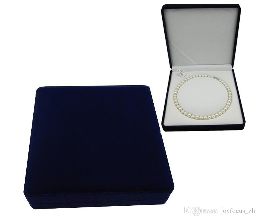 Velvet Jewelry Box Pearl Necklace Box Gift Box Blue Outside White
