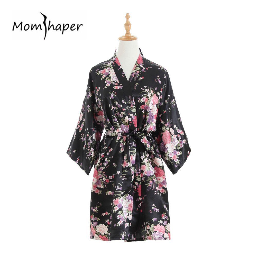 d400f2b4 Túnicas Mujer 2018 Kimono Robe Seda Satén Boda Dama de honor Robe kimono  Ropa de dormir Vestidos de verano Vestidos Mujeres Floral Albornoz