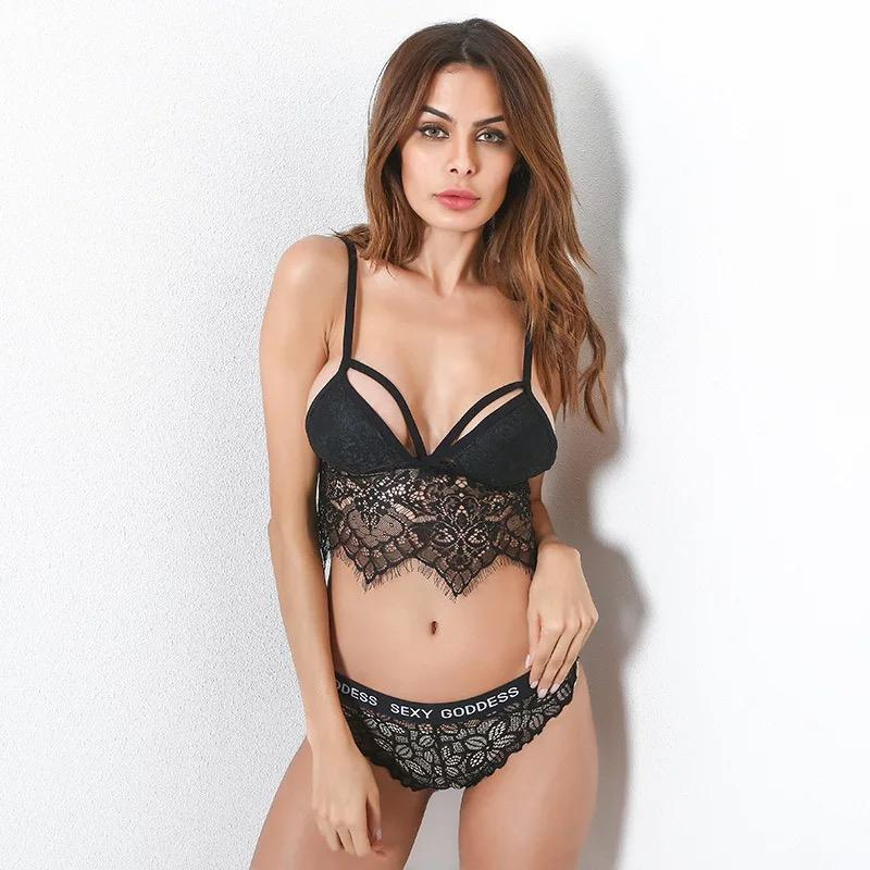 384ac3d9d981e 2019 Hot Sexy Lace Vest Wrapped Chest Strap Mesh Lace Bralette Lingerie  Crop Tops Bras For Women Underwear + Panties From Beasy114