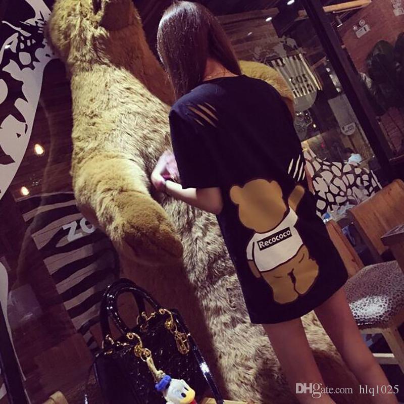 المرأة قصيرة الأكمام تي شيرت اللباس الصيف الكرتون الدببة إلكتروني بريتينج اللباس الجدة عارضة هول القطن اللباس