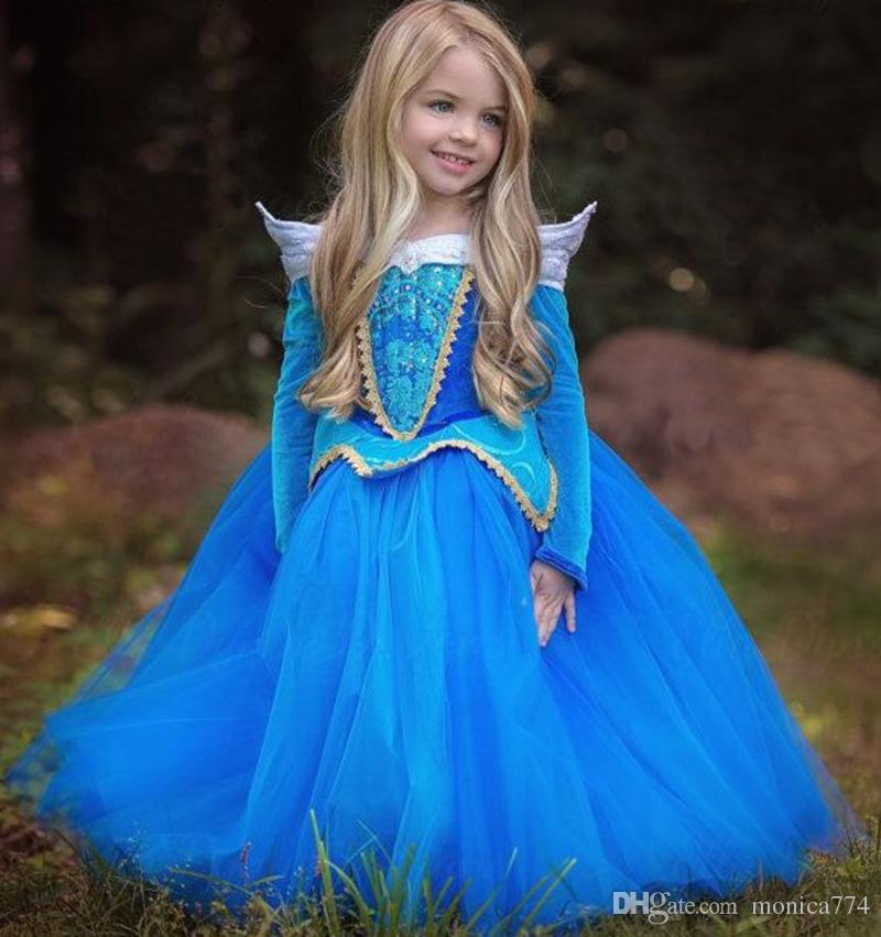TOP Fashion Children Girls Blue Long Sleeve Princess Dress Girls Birthday party dance dress Performance Costume prom dress D20