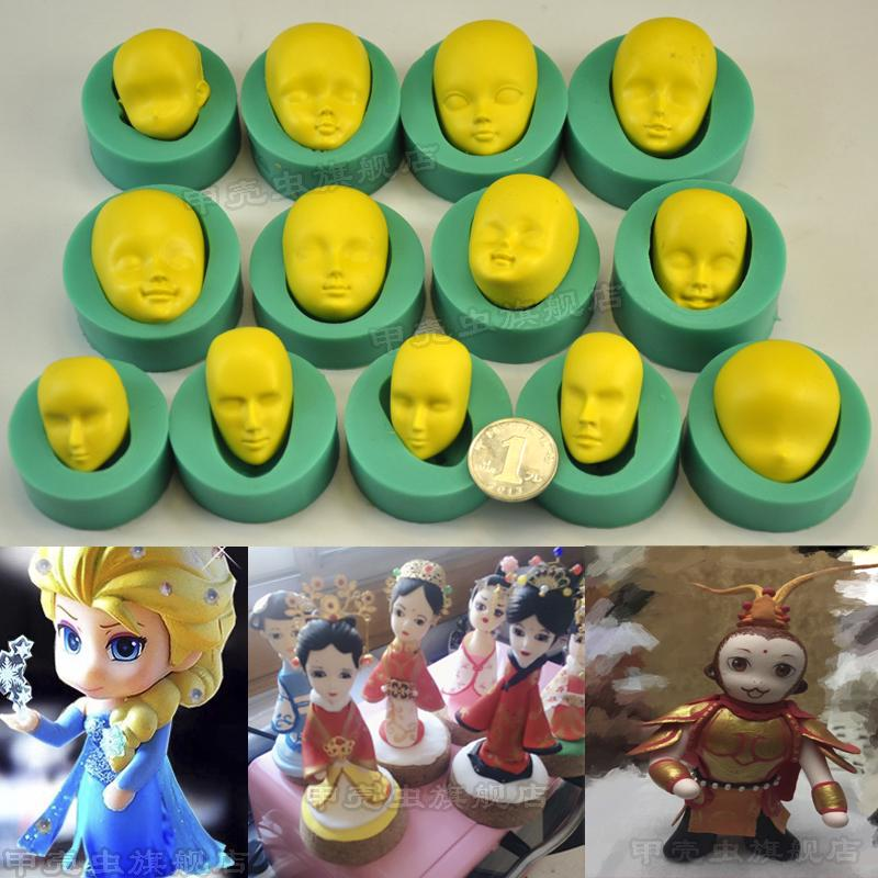 13 pcs Silicone face mold fondant cake mold BJD Girl face decorating handmade DIY tool