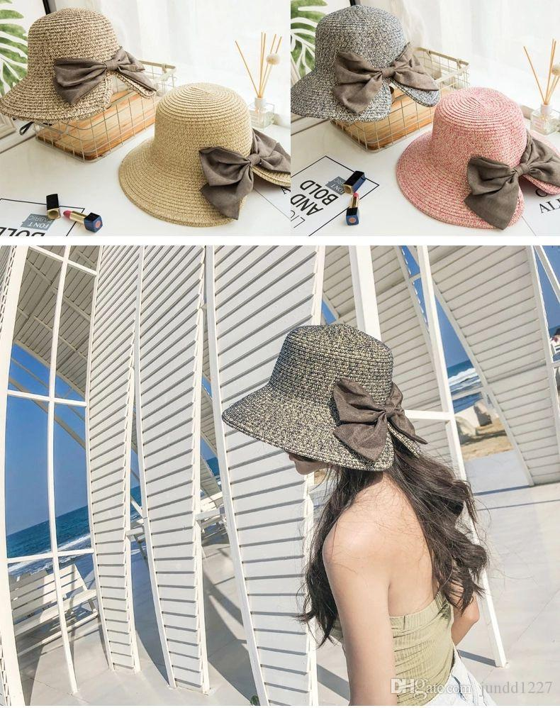 2018 Brand New Style Bind Straw Hat For Ladies Korean Sun Protection Hats  Elegant And Breathable Female Summer Hat Beach Hat Bucket Hat Online with  ... 031b577ec1df