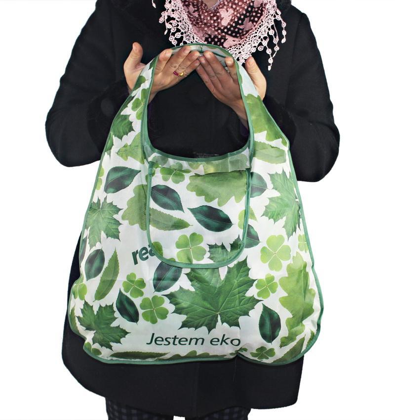 Boa qualidade! Saco de compras da folha verde de Alemanha, saco dobrado Eco-amigável da forma do ombro do punho portátil para o mantimento do curso