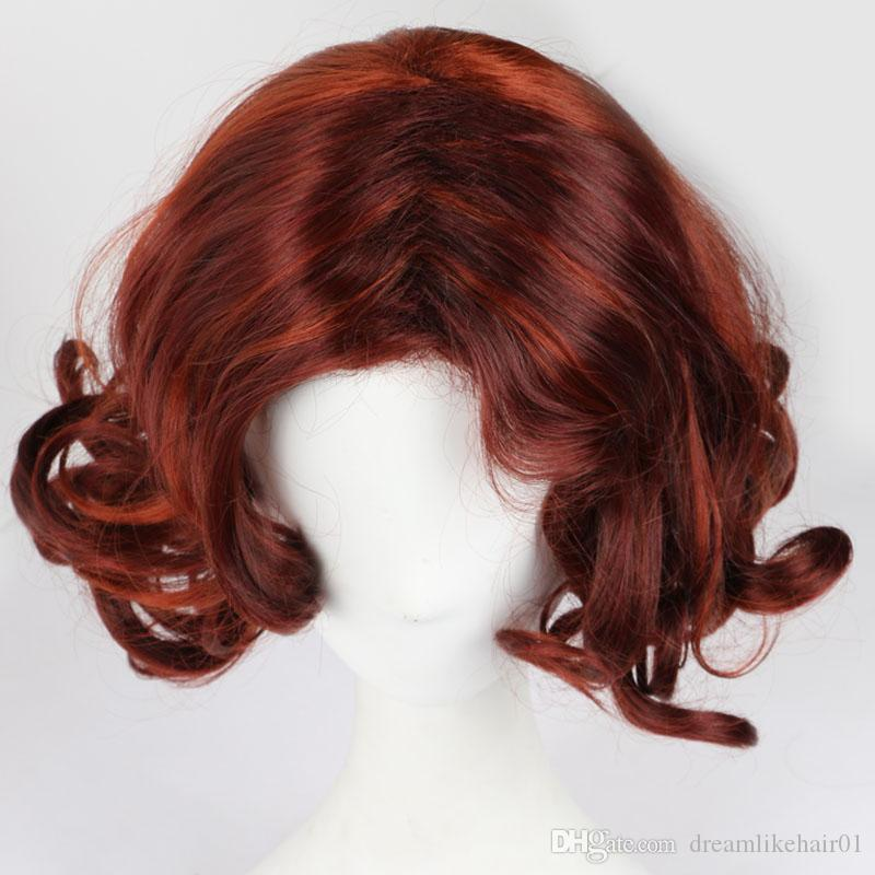 Short Burgundy Synthetic Wavy Hair Wig Heat Resistant Fiber Wigs Party Cosplay Natural Style Fake Hair Sexy Wig for White/Black Women