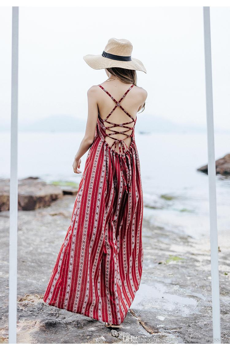 2018 Summer Maxi Dress Backless Boho Chic Women Beach Dress Burgundy