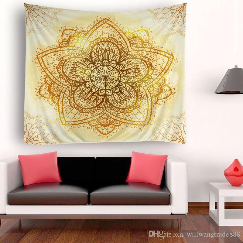 150x180cm Jolie Ronde Grandes Fleurs Psychédélique Tapisserie Tenture murale Mandala Hippie Couvre-lit
