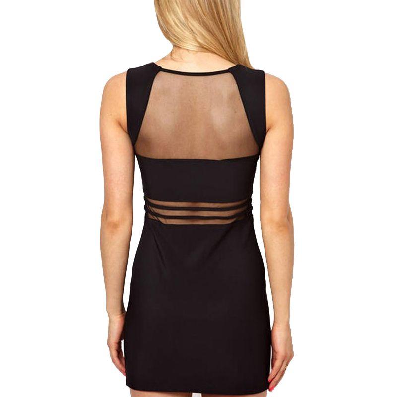 Perspectiva O-cuello Sexy Dress Club Party Package Hip Bodycon Dress 2018 sin mangas Blanco Black Hollow Out Vestidos de mujer Short Vestidos
