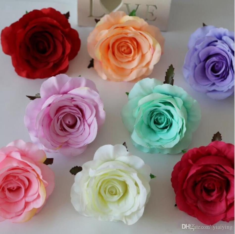 Rose Heads Artificial Flowers Plastic Fake Flowers Head High Quality Silk Flowers Wedding Decoration Wall Free Shipping