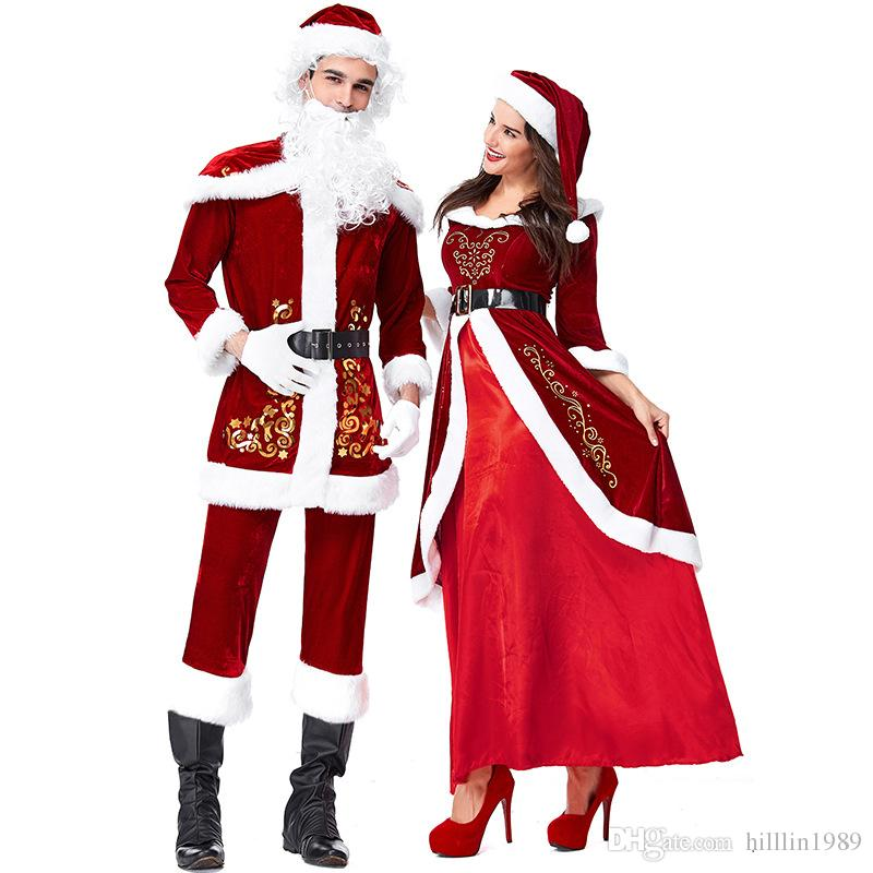 Fashion Wine Red Spun Velvet Christmas His And Hers Clothes Santa