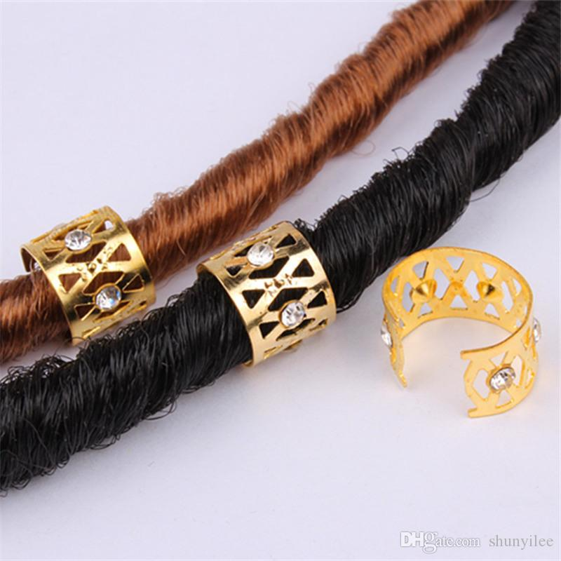 Hair Extension Tool Jewelry Metal Tube Lock Rhinestone Hair Dread Braids Dreadlock Beads Adjustable Braid Cuffs Clip H1469