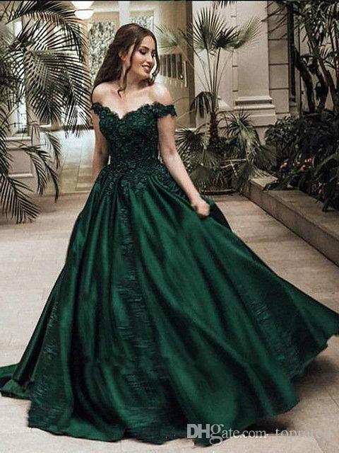 a11b2222653 Dark Green Charming Prom Dresses For Graduation Party Off The Shoulder Tops  A Line Floor Length Lace Appliques Evening Gowns Custom Made Gowns For Sale  Kids ...