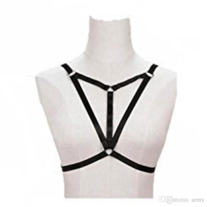 2018 Bdsm femenina sexy Goth Lencería Arnés elástico jaula sujetador sin pecho lencería Bondage Body arnés elástico cinturón Tamaño justo disponible