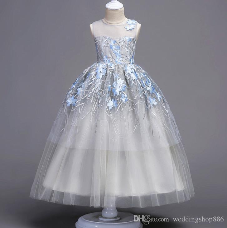 a391f0a96cb6 Kids Flower Girls Dress Embroidered Pageant Party Wedding Bridesmaid ...