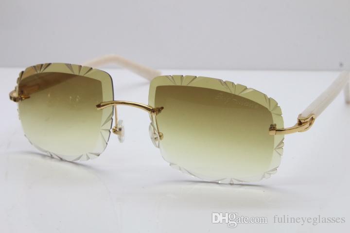 567f2c2506ab3 Compre O Envio Gratuito De Óculos De Sol Sem Aro Lente Esculpida T8200762  Vintage Sem Aro De Metal Óculos De Sol Novas Mulheres Carter Óculos Hot  Unisex ...